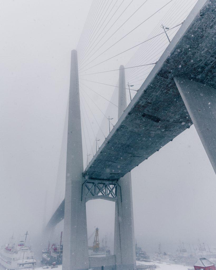 Zolotoy Bridge Vladivostok Russia in the snow