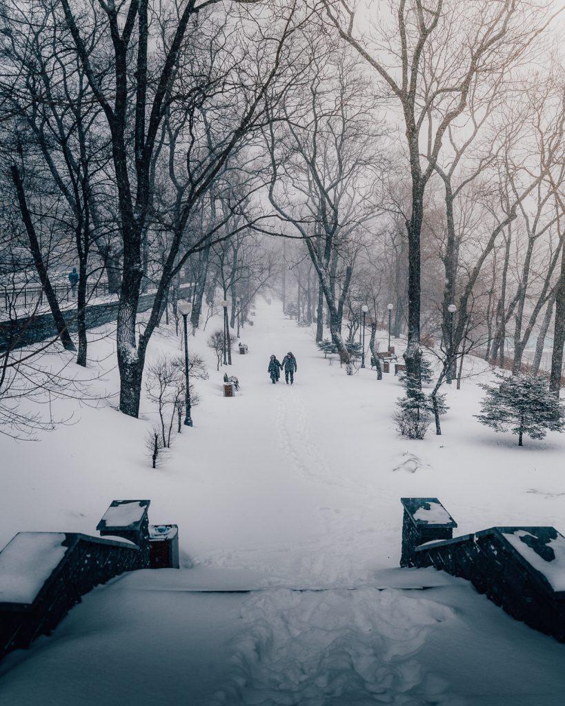 A couple walk through a snow covered park