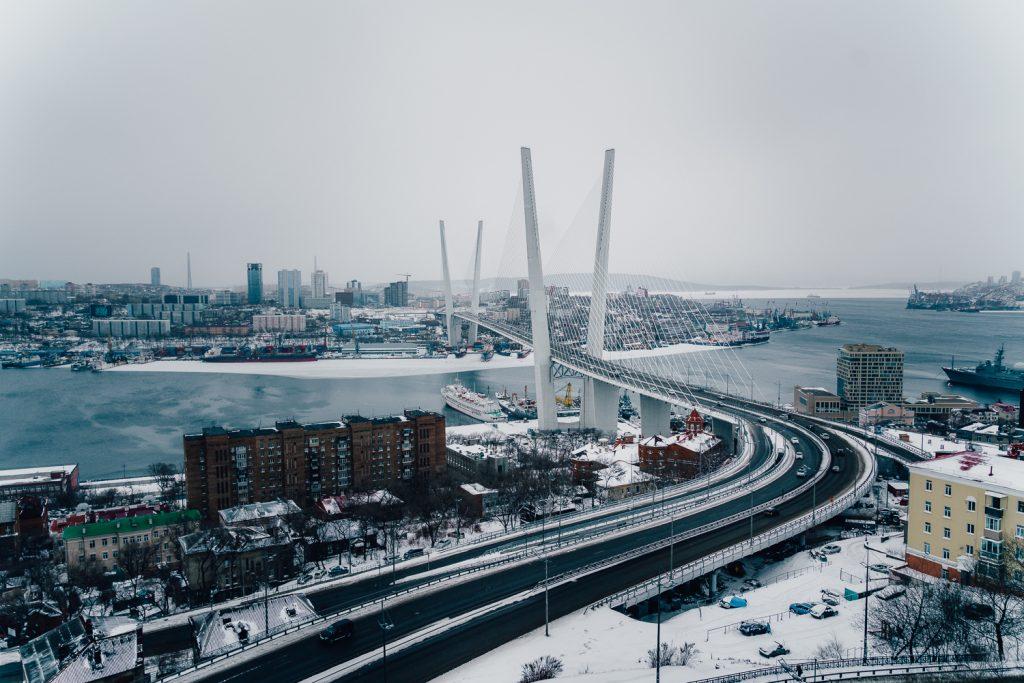 Zolotoy Most or Golden Bridge in Vladivostok Russia