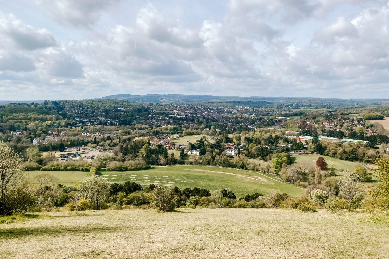 A view of the rolling hills looking out to the South Downs from Box Hill in Surrey