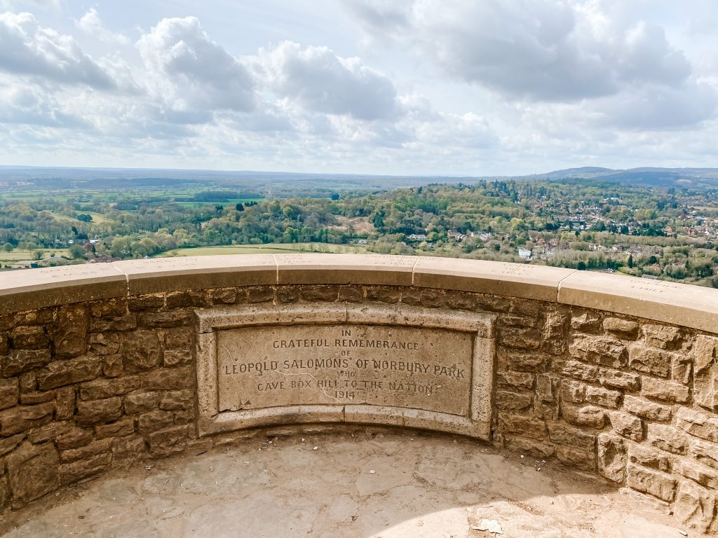 The lookout at Box Hill in Surrey with the Solomon memorial plaque in the foreground